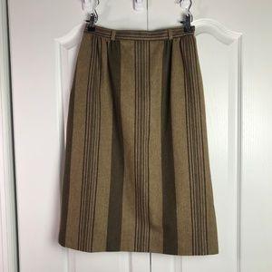 Vintage 70s tan & brown wool striped skirt